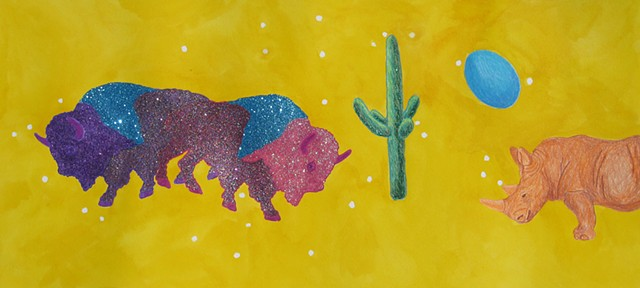 mixed media drawing siamese buffalo glittered and rainbow green cactus blue egg and orange rhino in outer space by Holly Campbell