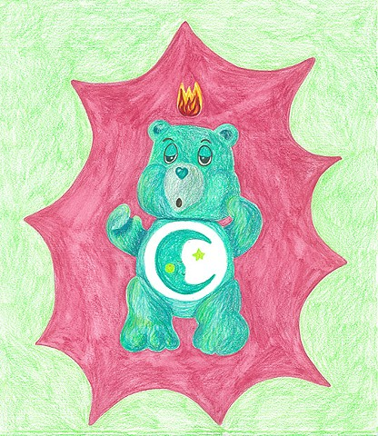 color pencil drawing on paper bedtime bear care bear with pentecostal flame by Holly Campbell