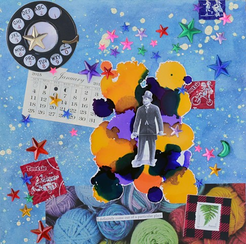 mixed-media collage on paper, glitter glue rotary phone calendar top hat tootsie pop wrapper yarn watercolor alcohol ink on paper acrylic stars by Holly Campbell