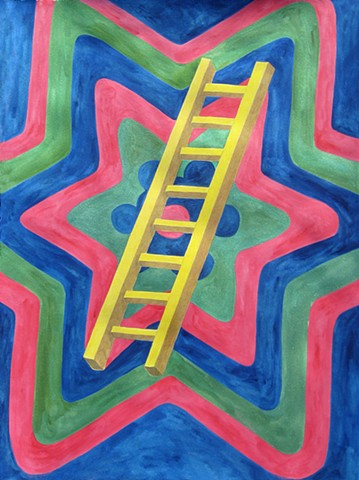 mixed media drawing ladder on paper radiating star patterned background by Holly Campbell