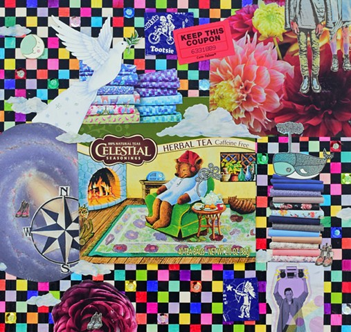 mixed media collage on paper duct tape sequins dove tootsie pop wrapper doc martens flowers sleepy tiem tea bear compass whale checkerboard fabric say anything boom box by Holly Campbell