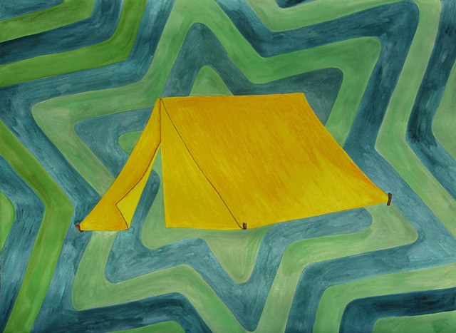 Every Good and Perfect Gift is From Above. - James 1:17 yellow tent drawing oil pastel and watercolor on paper with repeating star patterend background by Holly Campbell