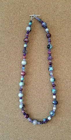 necklace inky blue red violet ceramic beads amethyst necklace by Holly Campbell