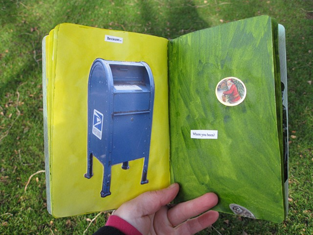 2012 sketchbook project blue mailbox santa sticker where have you been by Holly Campbell