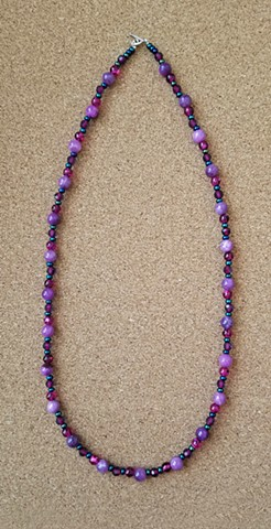 necklace purple quartzite glass seed beads necklace by Holly Campbell