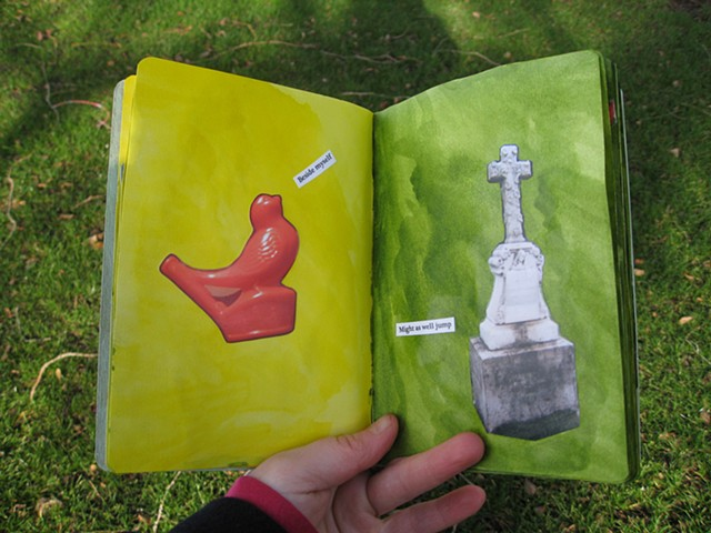 2012 sketchbook project red bird whistle on yello wpage cross gravestone on green page by Holly Campbell
