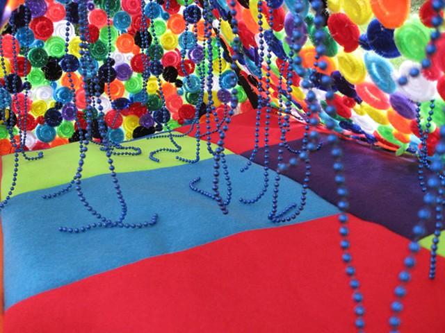 tent sculpture rainbow pipe cleaners blue strung beads by Holly Campbell