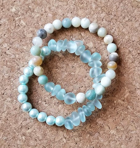 bracelets amazonite sky blue sea glass with pearls braceltes with stretch cord by Holly Campbell