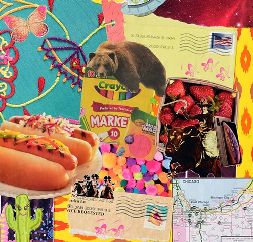 contemporary collage, woman artist, crayola markers, the three amigos, stamps, american flag, strawberries, butterflies, fabric, pom-poms, hot dogs, cactus, chicago and northwest indiana map, seashell stamp, samsung galaxy phones, rodeo, grizzly bear, spa