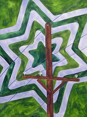 phone pole drawing watercolor on paper with glittered phone lines repeating star patterened background green violet by Holly Campbell