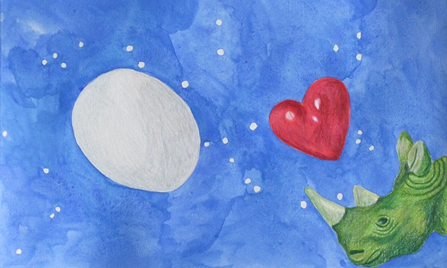 mixed media drawing on paper egg heart rhino in outer space by Holly Campbell