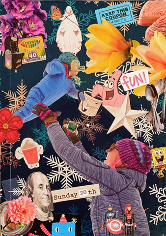 contemporary collage on paper with baby mother crayole markers birthday cake wendy's frosty ben franklin spongebob squarepants snowflakes, flowers galaxia, avengers