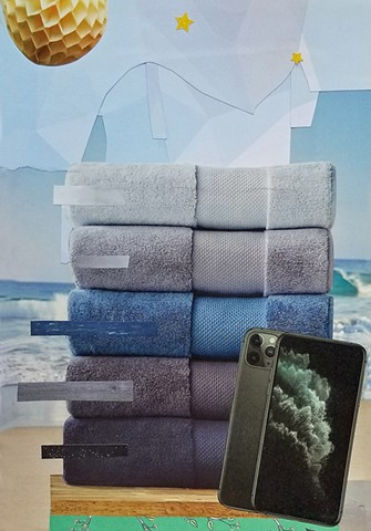 mixed-media collage on paper with stack of blue and gray towels samsung galaxy phone the beach blue skies a yellow paper party ball stars by Holly Campbell