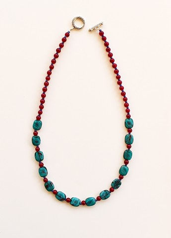 turquoise and red necklace with glass beads and matching companion earrings