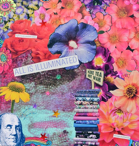 mixed media collage on paper flowers stars benjamin franklin monty python stacks of fabrics mono-printed and acrylic stars by Holly Campbell