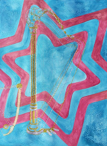 mixed-media drawing glitter harps watercolor gold and pink blue star patterned background by Holly Campbell