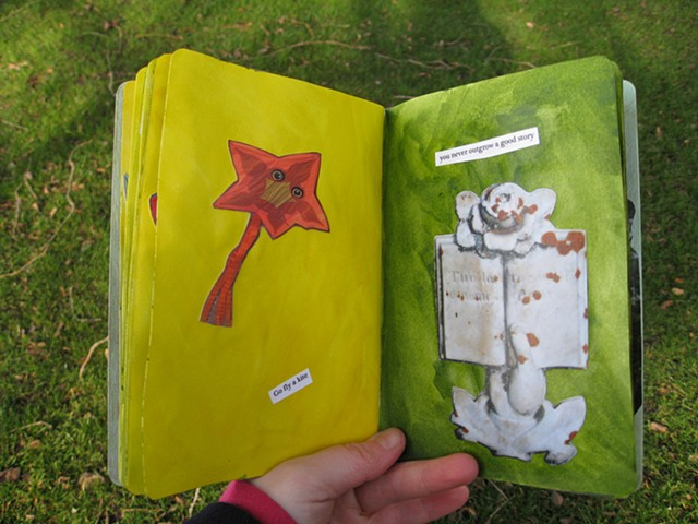 2012 sketchbook project star kite from Oregon Mossy tombstone yellow and green pages by Holly Campbell