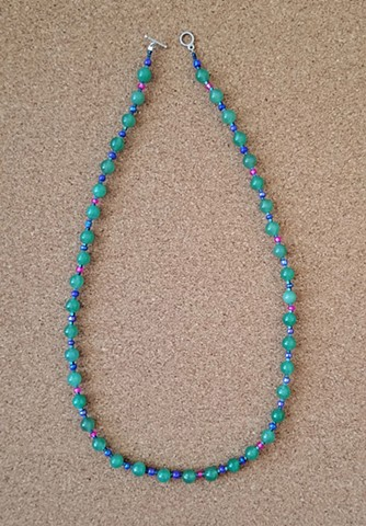 necklace green aventurine glass and seed beads by Holly Campbell