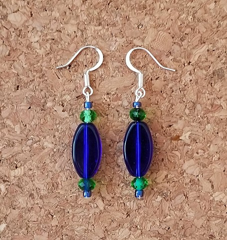 earrings cobalt blue kelly green glass beads with silver-plated ear hooks by Holly Campbell