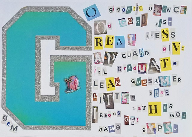 mixed-media collage on paper words that begin with the letter g by Holly Campbell