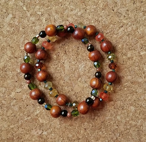 beaded bracelets made with wood czech glass hematite beads with stretch cord by Holly Campbell