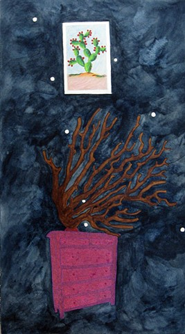 mixed media drawing on paper cactus loteria card coral branch magenta dresser glittered constellation in night sky by Holly Campbell