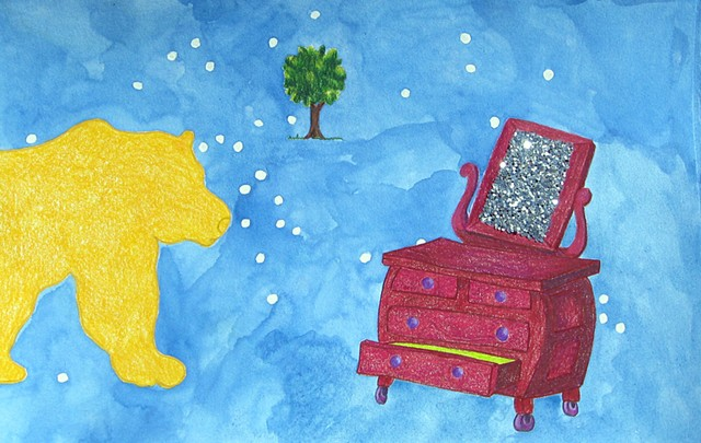mixed media drawing on paper golden yellow bear magenta dresser glittered mirror and small tree in outer space by Holly Campbell
