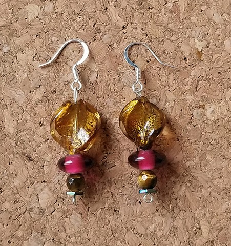 earrings made with golden yellow and pink glass, hematite & tiger eye beads with stainless steel ear hooks