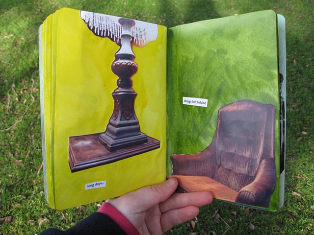 2012 sketchbook project moscow Idaho coffee shop table lamp and cozy chair photographs on green and yellow pages by Holly Campbell