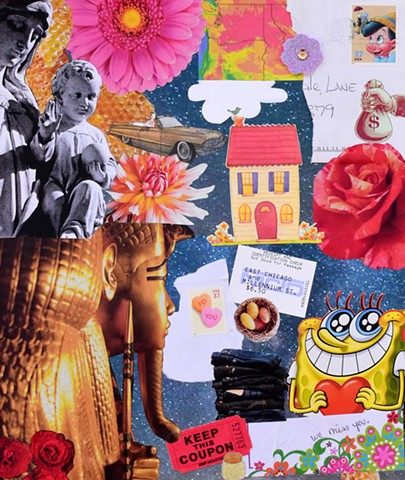 mixed media collage on paper mono-print daisies washington state mary baby jesus house rose money bag cloud jeans king tut spongebob squarepants flowers candy hearts pinocchio eggs cadillac by Holly Campbell