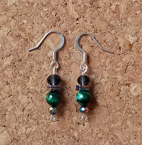 earrings made with green tiger eye, indigo glass and hematite beads on stainless steel ear hooks