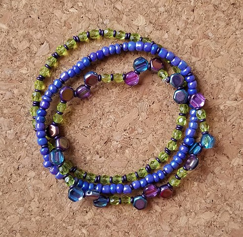bracelets periwinkle lime colered fire polished czech glass beads seed beads multi strand by Holly Campbell