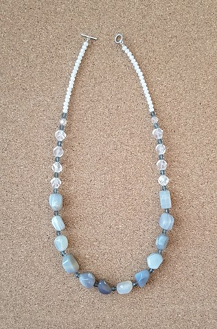 necklace gray agate stone swarovski crystals glass beads by Holly Campbell