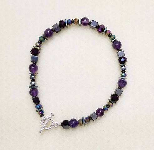 beaded bracelet with amethyst, hematite, and czech glass beads with metal toggle clasp