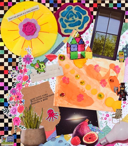 mixed-media collage on paper with foam glitter flowers, a window, sequins, snake plant, octopus, pomegranate, lightbulb, and alchohol inks