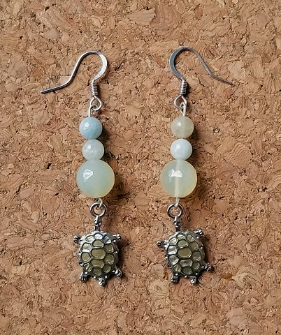 earrings morganite green agate turtles with stainless steel ear hooks by Holly Campbell