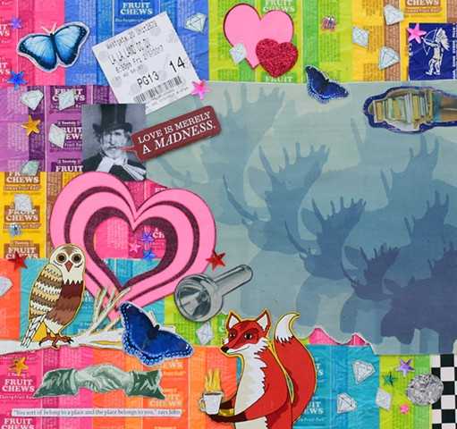 mixed media collage on paper butterflies hearts tootsie pop wrappers diamonds verdi flashlight owl fox moose hands checkerboard by Holly Campbell