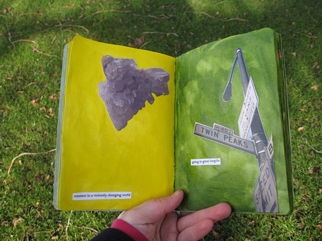 2012 sketchbook project quartz cluster crystal on yellow page twin peaks intersection photograph on green page by Holly Campbell