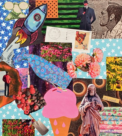 mixed media collage rocket ship glasses sherlock holmes bambi thumper jesus whale ice cream cone berries man red jacket flowers stars american flag postage stamp shovel stacks of fabrics ephemera by Holly Campbell