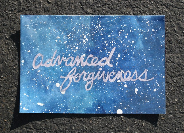 advanced forgiveness, watercolor on paper, envelopes, archival gel ink