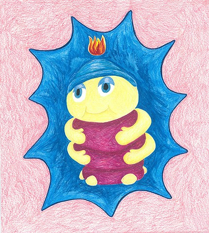 color pencil drawing on paper glow snugbug with pentecostal flame by Holly Campbell