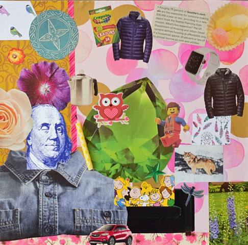 Ben Franklin, legos, crayola, with red owl, wolves in snow, Peanuts gang on green couch, with pink bubble background