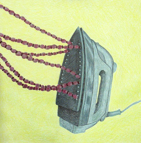 color pencil drawing iron pink red beads yellow background by Holly Campbell