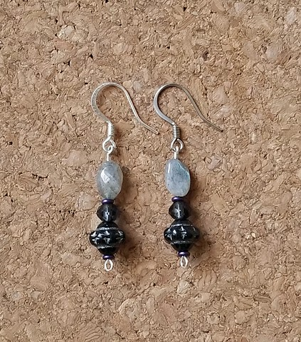 earrings in labradorite, faceted glass and metal beads with stainless steel ear hooks