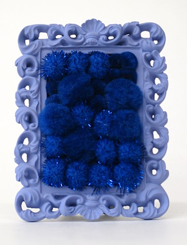 sculpture found picture frame painted periwinkle with shiny cobalt blue pom poms by Holly Campbell