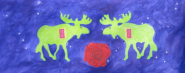 mixed media drawing on paper two moose doors a rose outer space by Holly Campbell