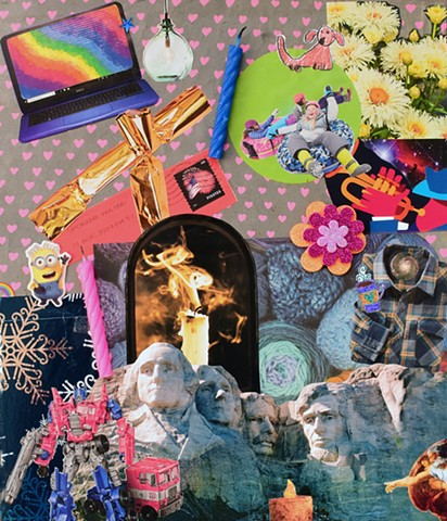 mixed media collage on paper, contemporary collage, mt. rushmore sledding birthday candles computer rainbows glitter flowers hearts snowflakes metallic blue flannel shirts transformers