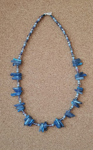 necklace blue quartz acrylic glass hematite seed beads by Holly Campbell