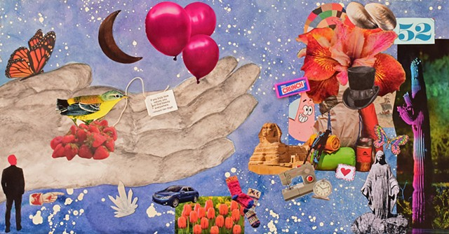 contemporary mixed-media collage on paper top hats mother mary night cactus balloons lilies seashells hearts butterflies open handcresent moon strawberry bird mixed media collage by Holly Campbell