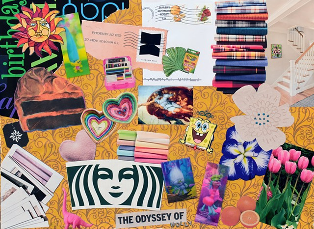 mixed-media collage on paper Starbucks, mermaid, hearts, Spongebob Square-pants, ginko leaves, woman atist, fabrics, stamps, postage, gold, stained glass, sun, cake, Polaroids, tulips, The Odyssey, trolls, Da Vinci, Sistine Chapel hand of Go